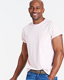 Baby Pink Pocket Crew T-Shirt Long
