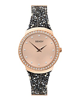 Sesky Rocks Black Crystal Two Tone Watch