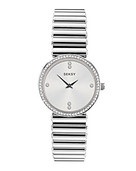 Sesky Crystal Dial Silver Watch