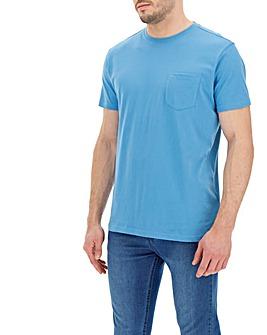 Azure Blue Pocket Crew T-Shirt Long