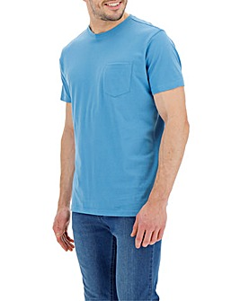Azure Blue Pocket Crew T-Shirt Long