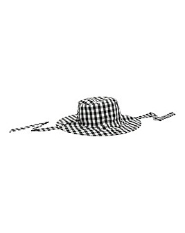 Gingham Fisherman Bucket Hat With Tie