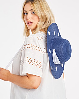 Oversized Polka Dot Hat With Tie Details