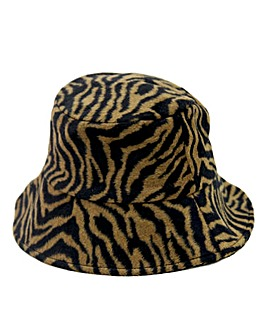 Zebra Print Faux Fur Bucket Hat