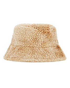 Camel Teddy Faux Fur Bucket Hat