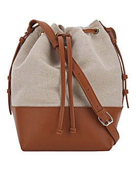Canvas Drawstring Bucket Bag