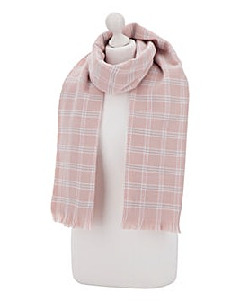 Pink Check Large Scarf