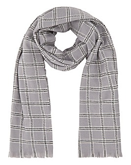 Light Grey Check Large Scarf