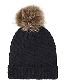 Navy Knitted Hat with Brown Pom