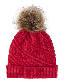 Pink Knitted Hat with Brown Pom