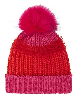 Berlin Pink and Red Pom Hat