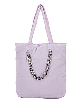 Oversized Quilted Chain Shopper Bag