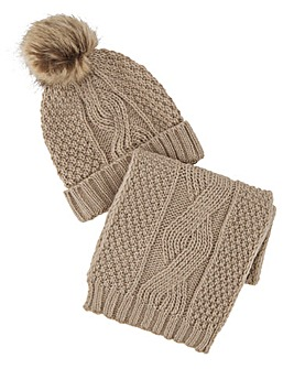 Darby Oatmeal Scarf & Hat