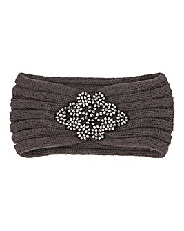Grey Jewelled Knitted Headband