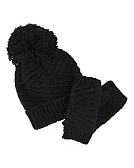 Arna Knitted Hat And Hand Warmer Set Black