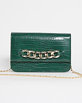 Cross Body Bag with Chain Trim Detail