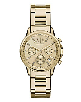 Armani Exchange Gold Plated Ladies Watch