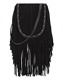 Fringed Suede Cross Body Bag
