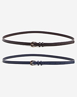 Pack of 2 Brown/Navy Jeans Belts