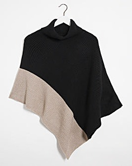 Black And Camel Poncho