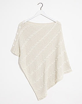 Cream And Taupe Knitted Poncho