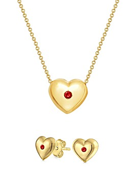 Buckley London Heart Chain &Earrings Set