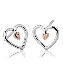 Clogau Sterling Silver & Rose Gold Tree of Life Heart Earrings
