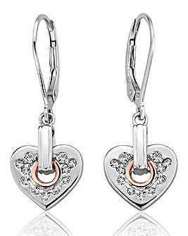 Clogau Stirling Silver & Rose Gold Cariad Sparkle Heart Earrings