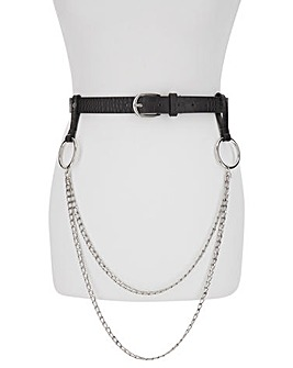 Black Croc Skinny Belt with Hanging Chains
