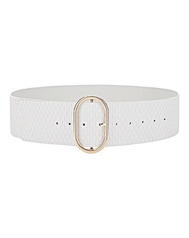 Weave Effect White Belt With Big Gold Buckle