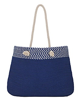 Navy Blue Straw Beach Bag