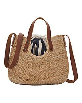 Leather Strap Straw Bucket Bag