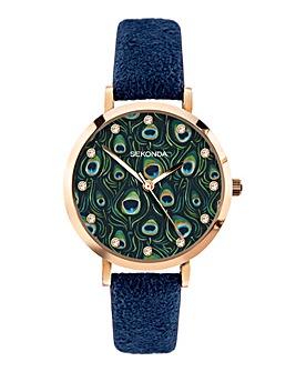 Sekonda Editions Womens Dark Blue Peacock Strap Watch