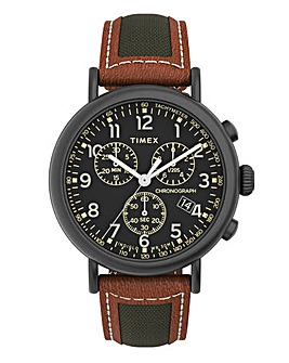 Timex Mens Standard Chronograph Leather Strap Watch