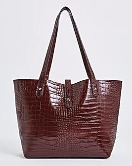 Classic Large Tote Bag In Croc Print