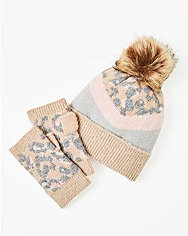 Leopard Print Knitted Hat & Hand Warmer Set
