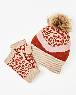 Knitted Hat & Hand Warmer Set