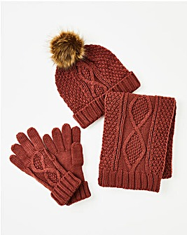 Rust Cable Knitted Hat, Scarf & Gloves Set