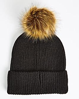 Black Knitted Beanie Hat With Pom Pom
