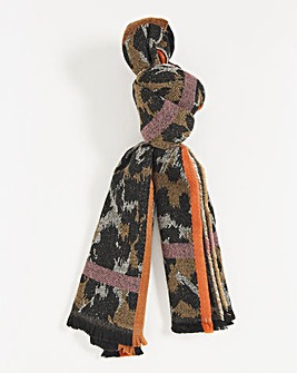 Animal And Check Oversized Woven Scarf