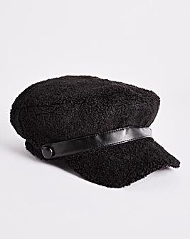 Fabric Black Baker Boy Hat