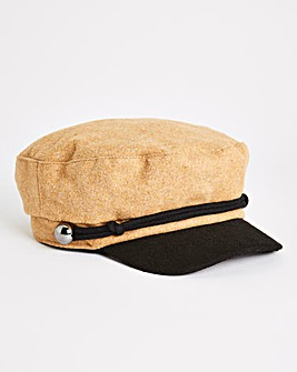 Camel Fabric Baker Boy Hat With Plait Detail