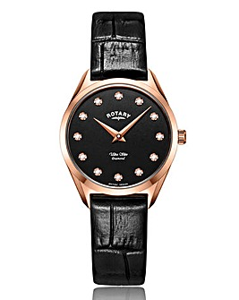 Rotary Ladies Leather Strap Watch With Diamond Markers.