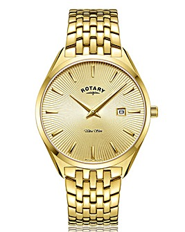 Rotary Yellow Gold PVD Gents Bracelet Watch With Champagne Dial.