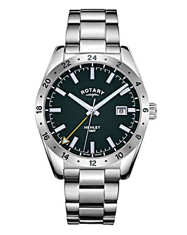Rotary Gents Stainless Steel GMT Bracelet Watch With Green Dial