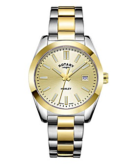 Rotary Unisex Two Tone Stainless Steel Bracelet Watch With Champagne Dail