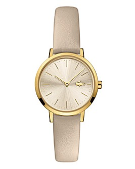 Lacoste Ladies Moon Taupe Leather Strap Watch