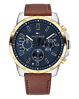 Tommy Hilfiger Mens Decker Brown Leather Strap Watch