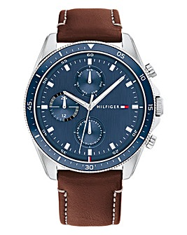 Tommy Hilfiger Mens Parker Brown Leather Strap Watch