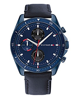Tommy Hilfiger Mens Parker Blue Leather Strap Watch